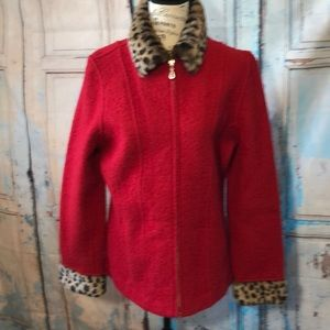 Carole Little Red Wool Coat Leopard Trim Medium
